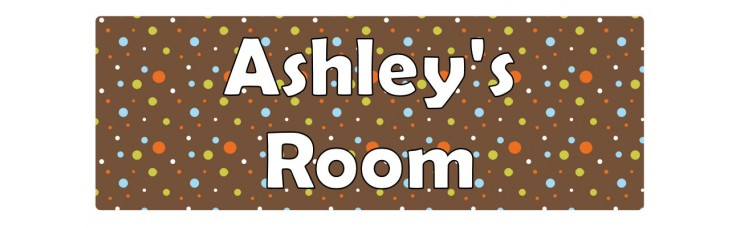 Brown Orange Blue Dots Door Sign